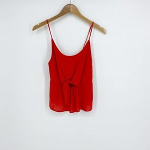 HELLO MISS Red Cropped Tank Cut-Out Bow Small
